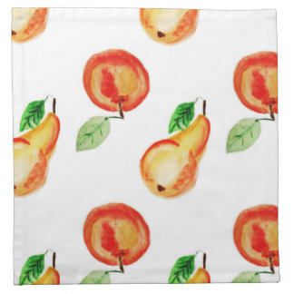 Pears and apples watercolor design napkin