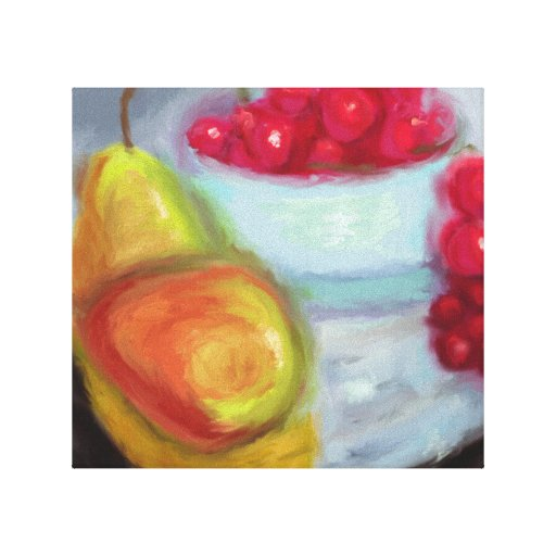 Pears and Cherries Gallery Wrapped Canvas