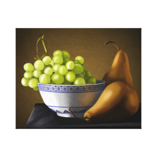 Pears and Grapes Fruit Bowl Still Life Canvas Print