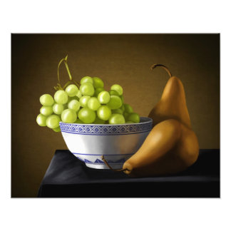 Pears and Grapes Fruit Bowl Still Life Photographic Print