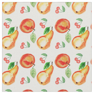 Pears, cherries and apples watercolor design fabric