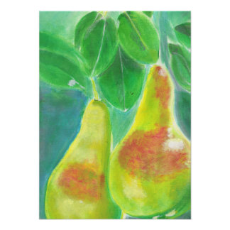 Pears Hanging from Tree Painting Poster