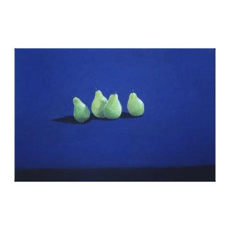 Pears on a Blue Cloth Canvas Print