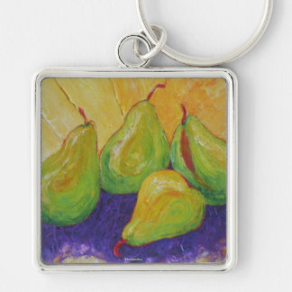 Pears Silver-Colored Square Key Ring