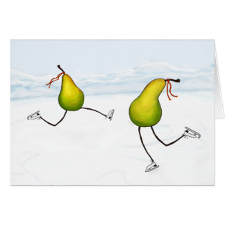 Pears Skating Greeting Card