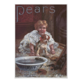 Pears Soap Girl Washing Dog Poster