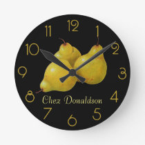 Pears Still Life Oil on Canvas Painting custom Round Clock