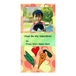 Peas Be My Valentine Cute Kids Customised Photo Card