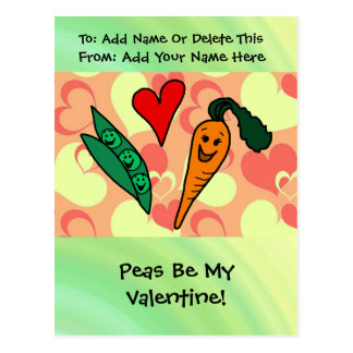 Peas Be My Valentine Postcard