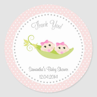Peas In A Pod Baby Shower Sticker Twin Girls
