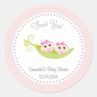 Peas In A Pod Baby Shower Sticker Twin Girls