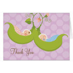 Peas in a Pod Boy Girl Twin Baby Shower Thank You Note Card