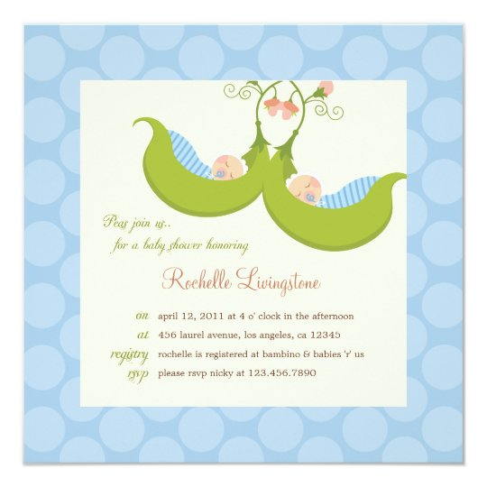 Peas in a Pod Boy Twins Baby Shower