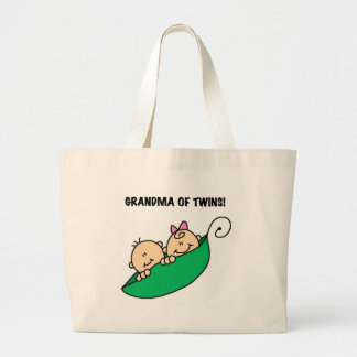 Peas in a Pod Grandma of Twins Large Tote Bag