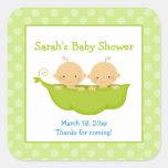 Peas in a Pod Twin Boys Square Favour Sticker