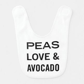 Peas Love and Avocado Funny Food Pun Bib
