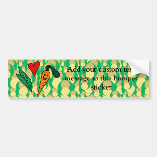 Peas Love Carrots, Cute Green and Orange Design Bumper Sticker