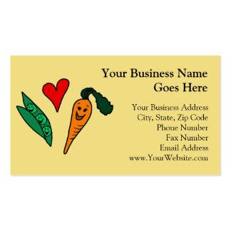 Peas Love Carrots, Cute Green and Orange Design Business Card Template