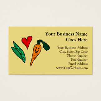 Peas Love Carrots, Cute Green and Orange Design Business Card