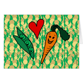 Peas Love Carrots, Cute Green and Orange Design Card