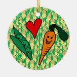 Peas Love Carrots, Cute Green and Orange Design Ornaments
