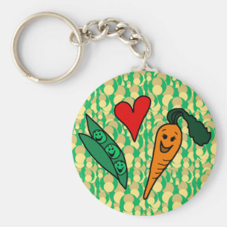 Peas Love Carrots, Cute Green and Orange Design Key Ring