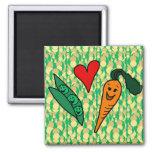 Peas Love Carrots, Cute Green and Orange Design Magnets
