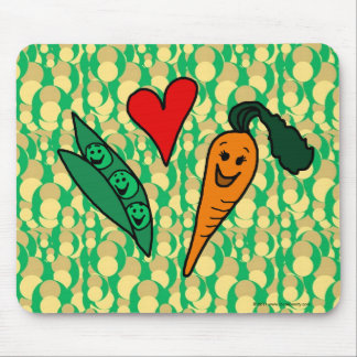 Peas Love Carrots, Cute Green and Orange Design Mouse Mat