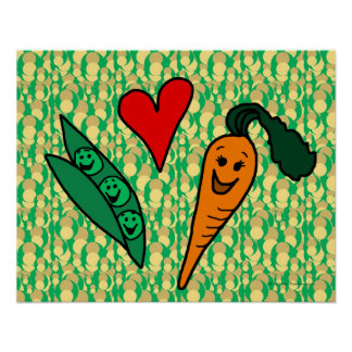 Peas Love Carrots, Cute Green and Orange Design Poster