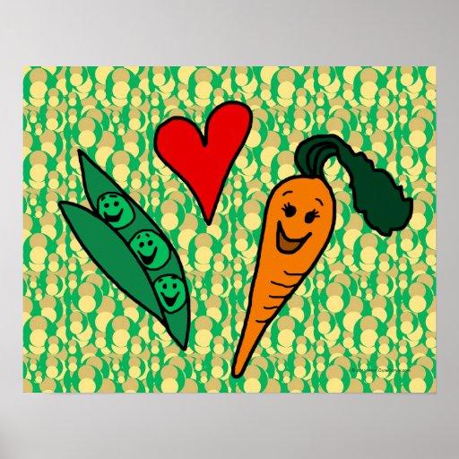 Peas Love Carrots, Cute Green and Orange Design Print