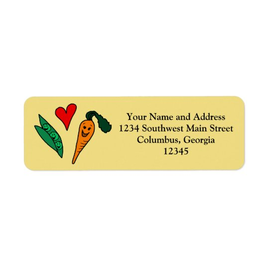 Peas Love Carrots, Cute Green and Orange Design Return Address Label
