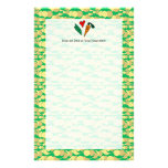 Peas Love Carrots, Cute Green and Orange Design Stationery