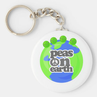 Peas on Earth Basic Round Button Key Ring