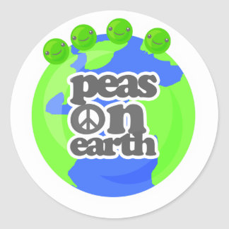 Peas on Earth Classic Round Sticker