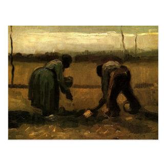 Peasant and Peasant Woman Planting Potatoes Vincen Postcard