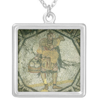 Peasant carrying a ewe and a basket of cheese silver plated necklace