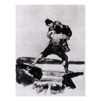 Peasant Carrying a Woman by Francisco Goya Postcard