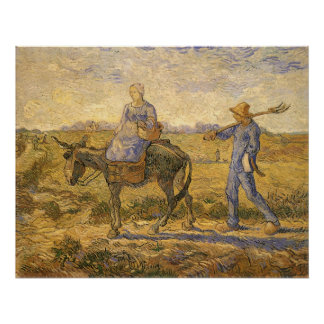 Peasant Couple Going to Work by Vincent van Gogh Poster