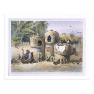 Peasant Dwellings in Upper Egypt, illustration fro Postcard