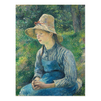 Peasant Girl with a Straw Hat, 1881 Postcard