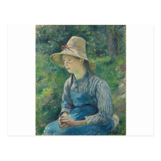 Peasant Girl with a Straw Hat by Camille Pissarro Postcard
