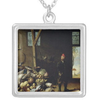 Peasant in an Interior Silver Plated Necklace