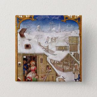 Peasant Life, from 'Breviarium Grimani' 15 Cm Square Badge
