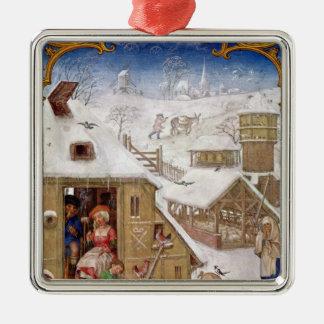 Peasant Life, from 'Breviarium Grimani' Silver-Colored Square Decoration