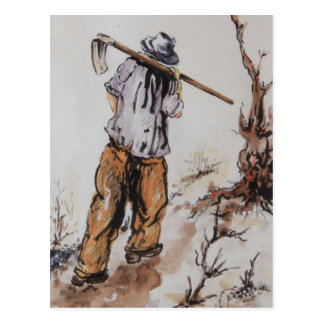 Peasant returning from work postcard