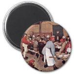 Peasant Wedding By Bruegel D. Ä. Pieter 6 Cm Round Magnet