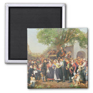 Peasant Wedding in Lower Austria (oil on canvas) Square Magnet