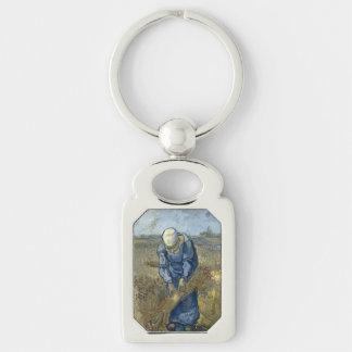 Peasant Woman Binding Sheaves by Vincent Van Gogh Key Chain
