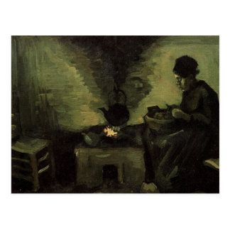 Peasant woman by the fireplace Vincent van Gogh Postcard