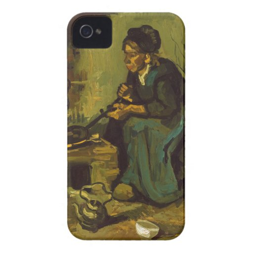 Peasant Woman Cooking by a Fireplace by Van Gogh iPhone 4 Cases